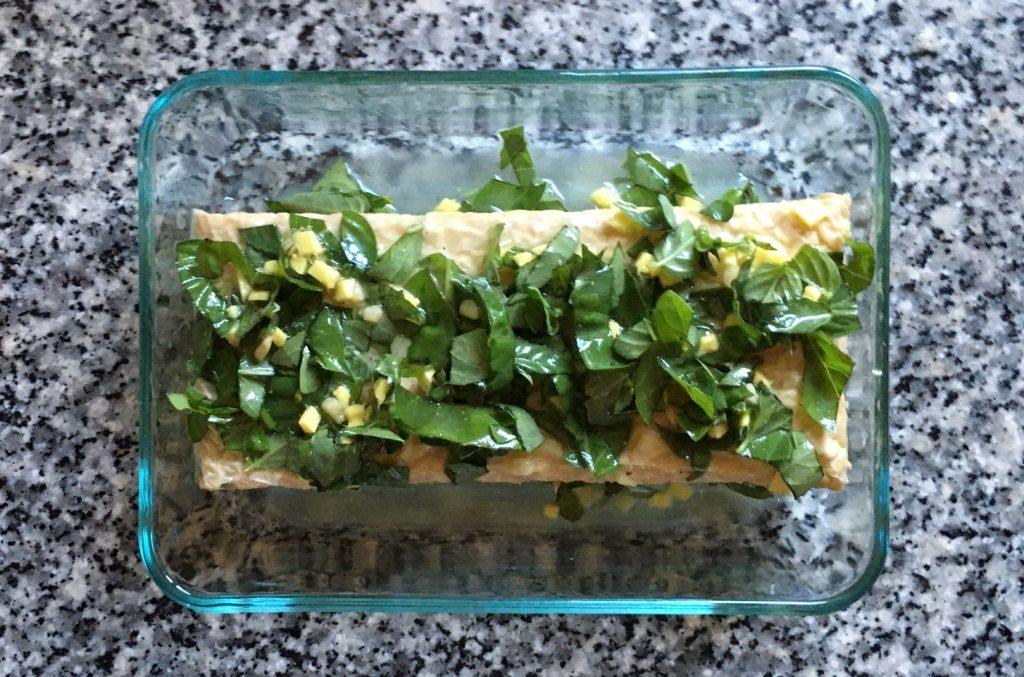 tempeh in basil-ginger marinade