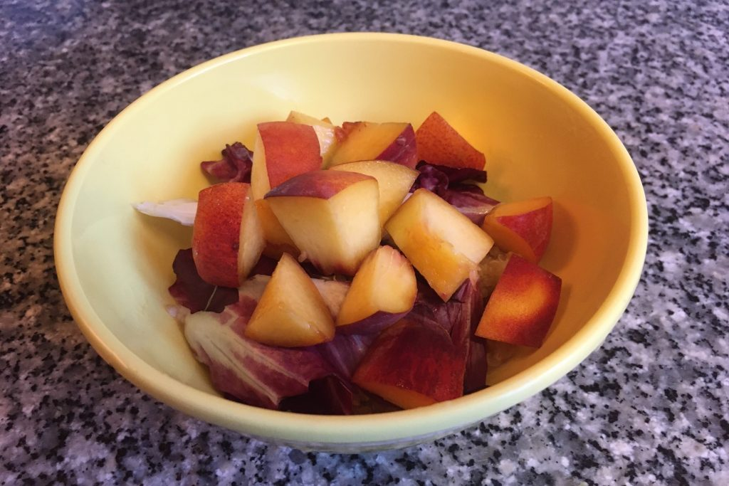 create your own grain bowl: quinoa with radicchio, and peaches