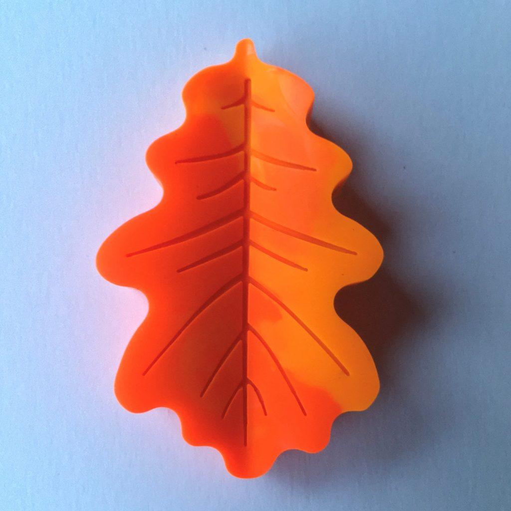 orange leaf shaped crayon