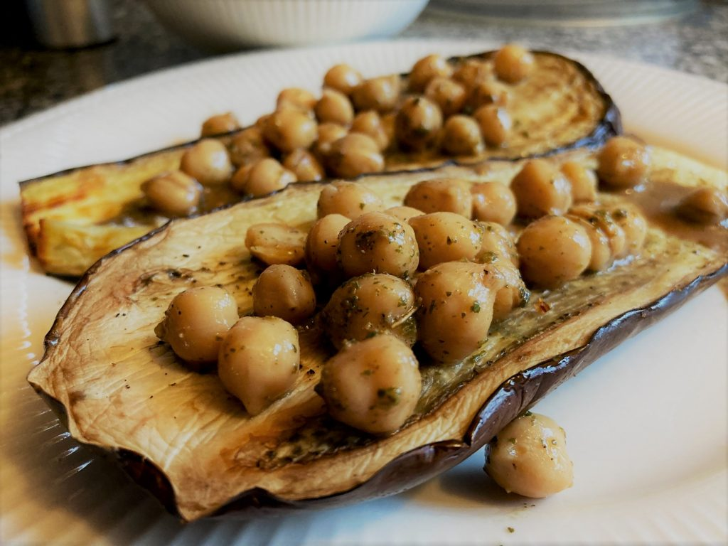 Roasted eggplant with balsamic chickpeas